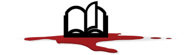 open book in pool of blood